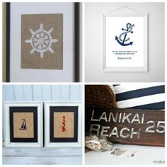 20 DIY Nautical Decor Ideas   Framed, Stenciled Burlap