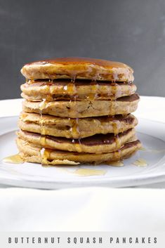 I came up with this easy recipe for fluffy and thick pancakes, that are not too sweet and have that cozy fall feeling. I love them with some honey drizzled on top! They're also delicious sprinkled with a mix of powdered sugar and cinnamon, although, if I'm having them for breakfast, I'll just eat them plain. #pancakes #butternutsquash #foodblogger Fluffy Pancakes, Honey And Cinnamon, Roasted Butternut Squash, Beets, Brunch, Easy Meals, Dishes, Powdered Sugar, Cooking