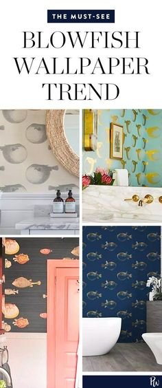 Blowfish Wallpaper Is the Delightfully Random Bathroom Trend We Needed #purewow #decor #home #trends #bathroom
