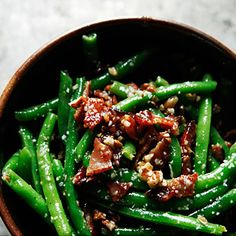 Green Beans with Bacon and Pecans Recipe - Redbook 2 cans of green beans can be used instead of fresh. Also, chopped & toasted regular pecans. Very good.