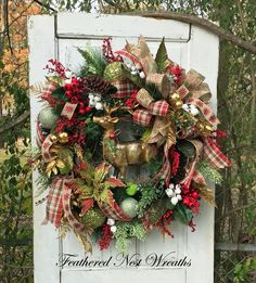 Large Custom Christmas Mantel Wreath featherednestwreaths.etsy.com