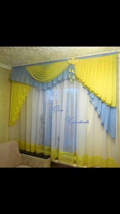 Diy Bay Window Curtains, Home Curtains, Kitchen Curtains, Valance Curtains, Kitchen Curtain Designs, Wedding Backdrops, Window Treatments, Design Ideas, Windows