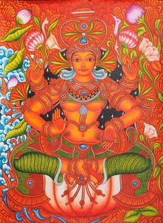 Goddess Lakshmi Kerala Mural Painting (via Exotic India) Indian Traditional Paintings, Indian Art Paintings, Traditional Art, Kerala Mural Painting, Madhubani Painting, Ganesha Art, Krishna Art, Mural Art, Murals