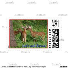 Let's Ask Santa Baby Deer  custom Postage Stamps sheets of 20.  Original Photography by TamiraZDesigns.