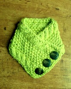 Hand Knit Soft 3 Button Cowl Scarf in Lime by ArtyChickStudios, $30.00