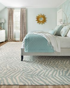 Looking for something on the wilder side? This refined animal print is a beautiful way to go bold. This style has a beveled edge and is not eligible for cutting service. | Zebra Crossing - Seafoam Black Carpet, Modern Carpet, Carpet Tiles, Rugs On Carpet, Zebra Crossing, Cost Of Carpet, Carpet Trends, Cheap Carpet Runners, Style Tile