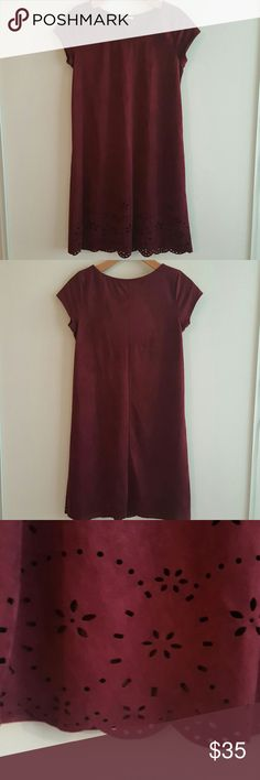 Kaii Faux Seude dress Kaii Faux Seude dress. Burgundy. Scallop & laser cut detail. Kaii Dresses Mini