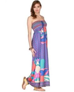 Flying Tomato Bohemian Printed Tube Maxi Dress