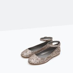 Image 5 of GLITTER BALLERINAS WITH STRAP DETAIL from Zara