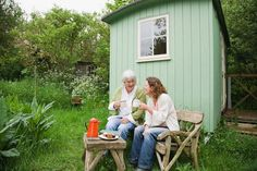 """Talk about downsizing. The """"small home movement"""" is a philosophy that finds homeowners opting for dwellings that are often less than 500 square feet--smaller, even, than what some would consider to be a small studio apartment. Building A Storage Shed, Wood Storage Sheds, Building A House, Granny Pod, Granny Flat, Cheap Sheds, Large Sheds, Lawn Equipment, Roof Styles"""