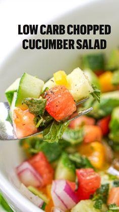 Vegetarian Salad Recipes, Cucumber Recipes, Salad Recipes For Dinner, Healthy Low Carb Recipes, Cucumber Salad, Vegetable Recipes, Keto Recipes, Healthy Snacks, Healthy Eating