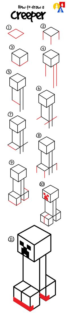 How to draw a creeper from Minecraft!                                                                                                                                                     More