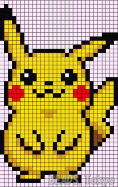 Pikachu - Pokemon perler bead pattern by BEADS. Graph Crochet, Pixel Crochet, Modern Cross Stitch, Cross Stitch Patterns, Pokemon Cross Stitch, Modele Pixel Art, Pixel Art Grid, Baby Boy Knitting Patterns, Pokemon Perler Beads