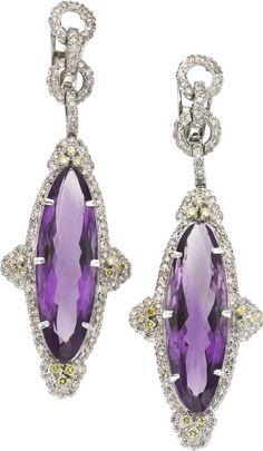 Amethyst, Colored Diamond, Diamond, White Gold Earrings