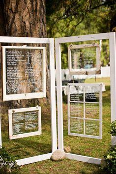 Print a seating chart printed on a vintage barn window