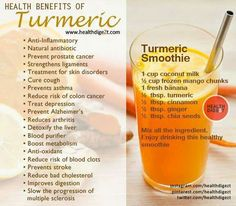 The health benefits of turmeric powder are versatile and potent. Ancient peoples used turmeric to treat a wide variety of health issues ranging to flatulence, for pain and for treating ringworm. & fitness and wellness salud health smoothies holistic Smoothie Curcuma, Turmeric Smoothie, Healthy Juices, Healthy Smoothies, Healthy Drinks, Smoothie Recipes, Cleanse Recipes, Vegetable Smoothies, Yogurt Smoothies