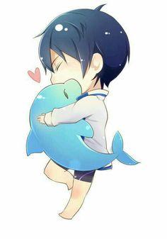 Nanase Haruka, cute, chibi, dolphin, heart; Free!