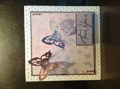 Card making butterfly thank you card. Die cut and embossed using Sizzix Big Shot