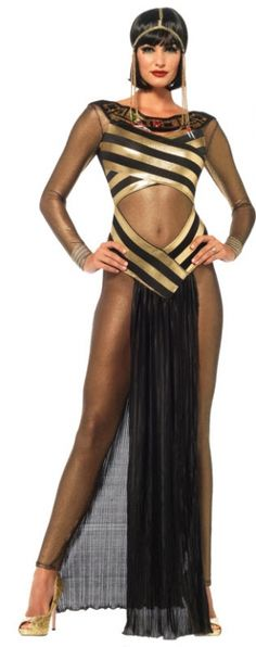 Women's Queen of the Nile Costume - Adult Costumes - A very sleek and sexy dress that will mesmerize your prey and compel them to serve their Egyptian queen! Costume includes: Gold shimmer catsuit, striped cut out dress with jewel collar, and matching draped head piece. Gold/Black.