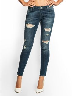 GUESS Kate Skinny Destroyed Jeans in Dreamer Wash  Spandex zipper closure Women's jeans low rise slim fit skinny leg zip fly