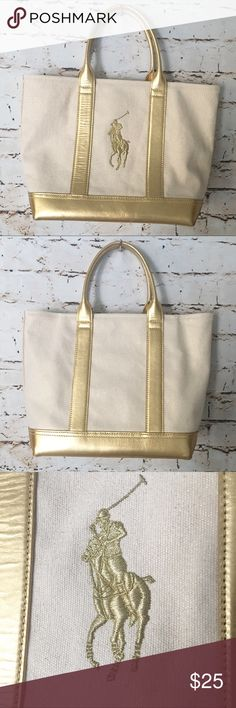 RALPH LAUREN Gold Tone Small Fabric Tote RALPH LAUREN Gold Tone Small Tote  Bag in EUC 4fed64a28a