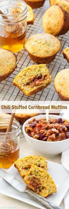 Chili Stuffed Cornbread Muffins | These Chili Stuffed Cornbread Muffins are a fun way to eat your chili and cornbread all in one bite!