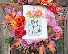 Bless Your Heart, Everyday Wreath, All Season Wreath, Floral Wreath, Summer Wreath, Birdhouse Wreath