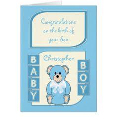 New Baby Boy Card blue teddy bear Teddy Bear Nursery Decor, Cards & Gifts #zazzle #Lynnrosedesigns