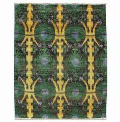 Ikat Green Print Rug - June, Antique Rugs