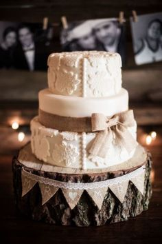So pretty and too adorable! #wedding #weddingcake #cake #rustic #chic