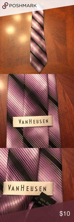 100% Silk VanHeusen Tie 100% Silk VanHeusen Tie. Excellent condition! Colors include purple, black, and gray. Van Heusen Accessories Ties