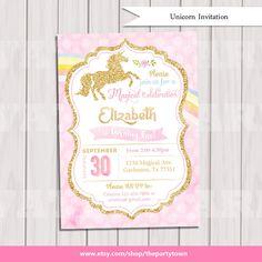 Unicorn Invitation, Pink and Gold, Rainbow Unicorn Birthday Invite, Sprinkle Invite, Gold Glitter first birthday, Baby girl Printable by ThePartyTown on Etsy https://www.etsy.com/listing/290330909/unicorn-invitation-pink-and-gold-rainbow
