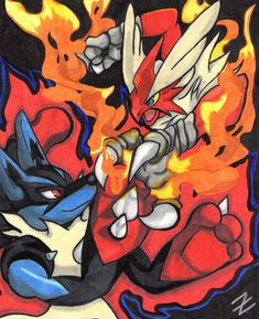 An drawing of Mega Lucario fighting Mega Blaziken done in copic markers on a thick board Best Pokemon Ever, Cool Pokemon, Dragon Manga, Photo Pokémon, Mega Lucario, Mega Evolution, Pokemon Pictures, Character Art, Cool Art