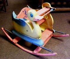 Vintage Child's Toy Plastic & Wood Duck / Bouncy Rocking Seat. Reminds me of my Wonder Horse.