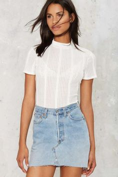 Nasty Gal Mock Up Ribbed Tee - What's New : Clothes