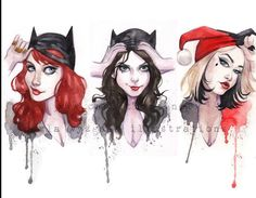 UnMasked Batman Batgirl Catwoman Harley Quinn inspired Pin Up watercolor art print Carla Wyzgala Carlations