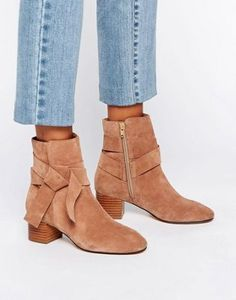 ASOS RENZEL Suede Bow Ankle Boots