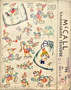 McCall 746: Pinocchio motifs, transfer pattern from 1940