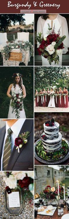 moody dark red organic woodland wedding color palette
