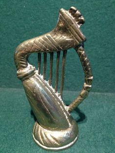 Lovely Vintage Brass Harp  - 3.75  (9.5cm) High