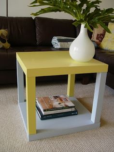 blue paint to white & add stain protector. change the wood legs to the white and white to wood.