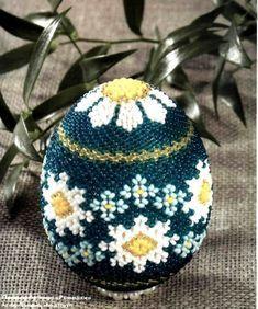 яйцо с ромашками - схема