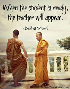 Buddhist proverb. entendre?? as in we start to see life as a teacher?? or we only receive assistance when we need it?...