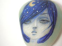 Hand painted stone painted pebble melancholic girl by HappyVillage