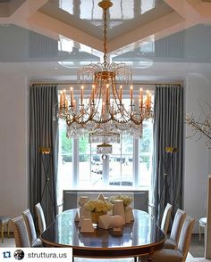 table/chairs  #CofferedCeiling #WaffleCeiling, AccentHaus.com