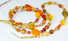 Bold Orange &Gold Glass Beaded Office Id Badge  Lanyard or Eyeglass Necklace by nonie615, $22.00