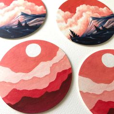 Set of Four Coasters Table Coasters Decorative Artwork Record Wall Art, Cd Wall Art, Cd Art, Small Canvas Art, Mini Canvas Art, Circle Canvas, Circle Painting, Arte Sketchbook, Aesthetic Painting
