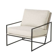 Ecru and Satin Black Metal Armchair Cole on Maisons du Monde. Take your pick from our furniture and accessories and be inspired! Green Velvet Armchair, White Armchair, Comfy Armchair, Retro Armchair, Rattan Armchair, Wooden Armchair, Armchair Slipcover, Armchairs, Bedroom Armchair