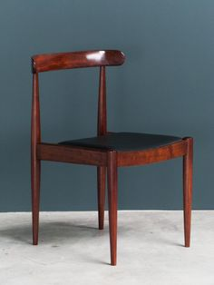 Alfred Hendrickx; #500 Rosewood and Leather Side Chair for Belform, c1970.