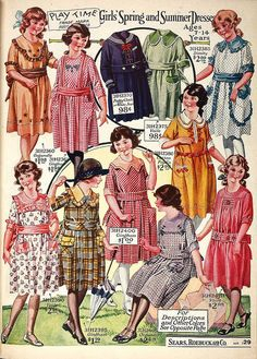 Children's fashion was still age appropriate and knee length. Colours were important to children